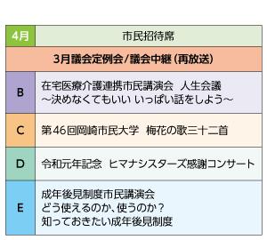 議会・市民招待席 番組一覧表