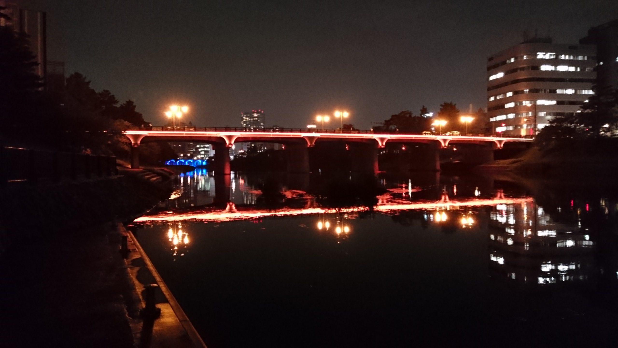 明代橋・乙川の夜景|9月のラインナップ|イメージ写真