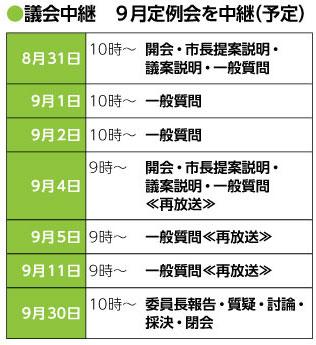 議会中継|9月定例会|放送日程